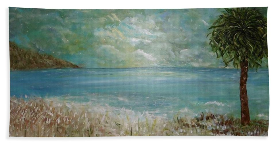 Inspirational Landscape Beach Towel featuring the painting God's Gift by Sara Credito