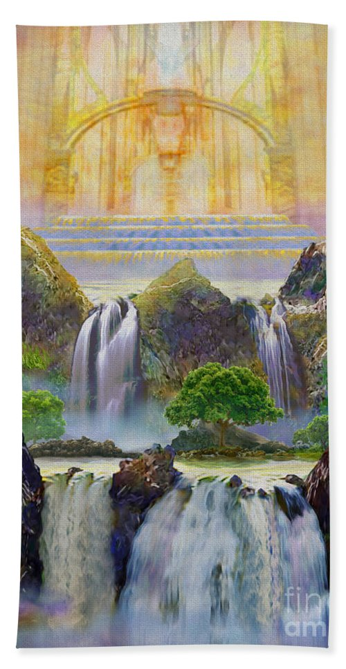 Heaven Beach Towel featuring the painting God's Holy Hill by Todd L Thomas