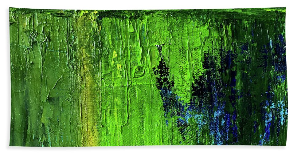 Large Green Abstract Beach Towel featuring the painting Going Green by Nancy Merkle