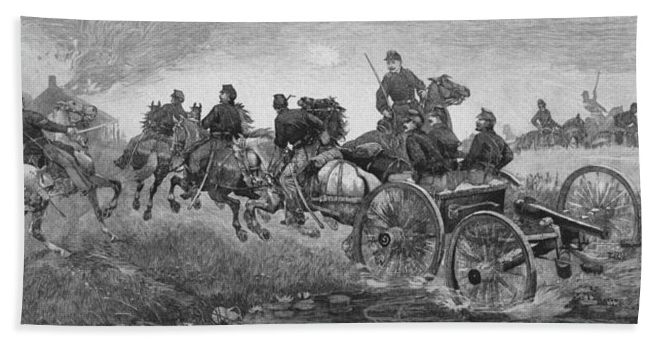 Civil War Beach Towel featuring the drawing Going Into Battle - Civil War by War Is Hell Store