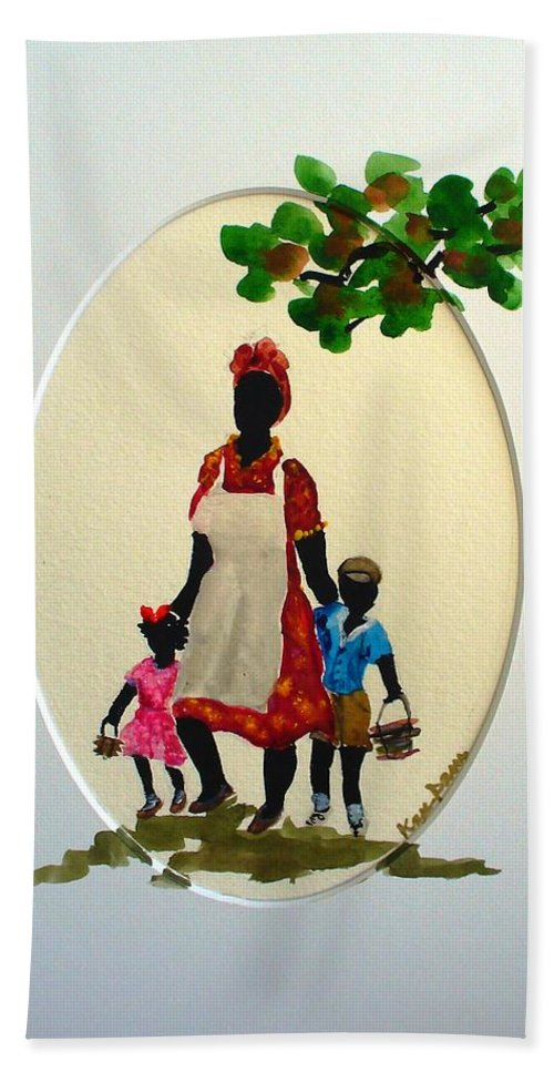 Caribbean Children Beach Sheet featuring the painting Going To School by Karin Dawn Kelshall- Best