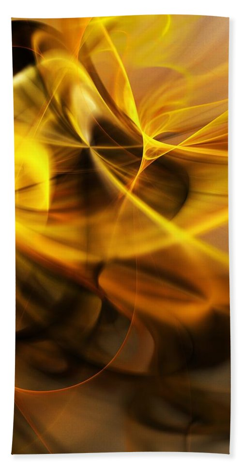 Fractal Beach Towel featuring the digital art Gold and Shadows by David Lane