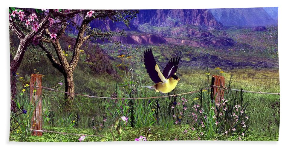 Birds Beach Towel featuring the digital art Gold Finch In The Spring Time by John Junek