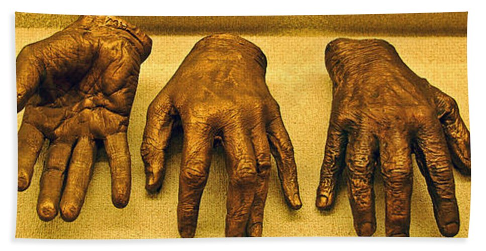 Hands Beach Towel featuring the photograph Gold Fingers by Debbi Granruth