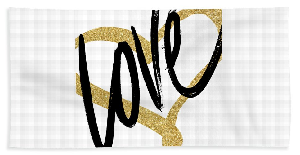 Gold Beach Towel featuring the painting Gold Heart Black Script Love by South Social Studio