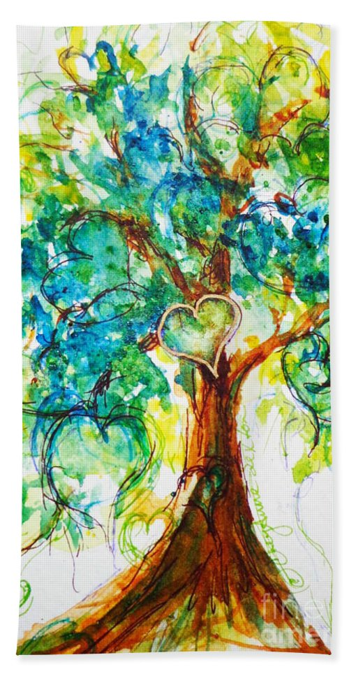 Valentine Beach Towel featuring the painting Gold Heart Valentine Tree Watercolor N Ink by CheyAnne Sexton
