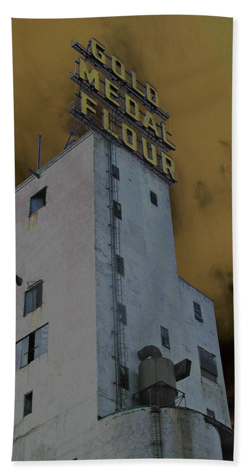 Minneapolis Beach Towel featuring the photograph Gold Medal Flour by Tom Reynen