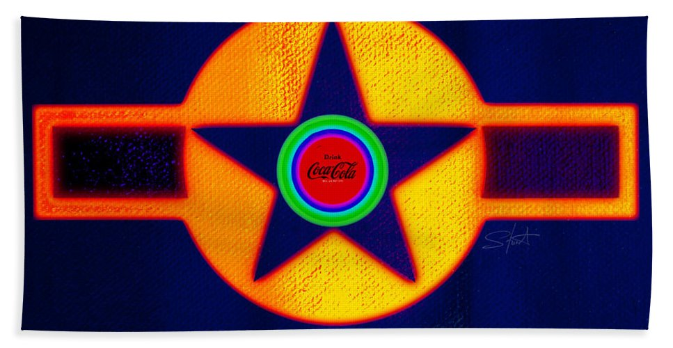 Usaaf Beach Towel featuring the painting Gold On Blue With Cola by Charles Stuart