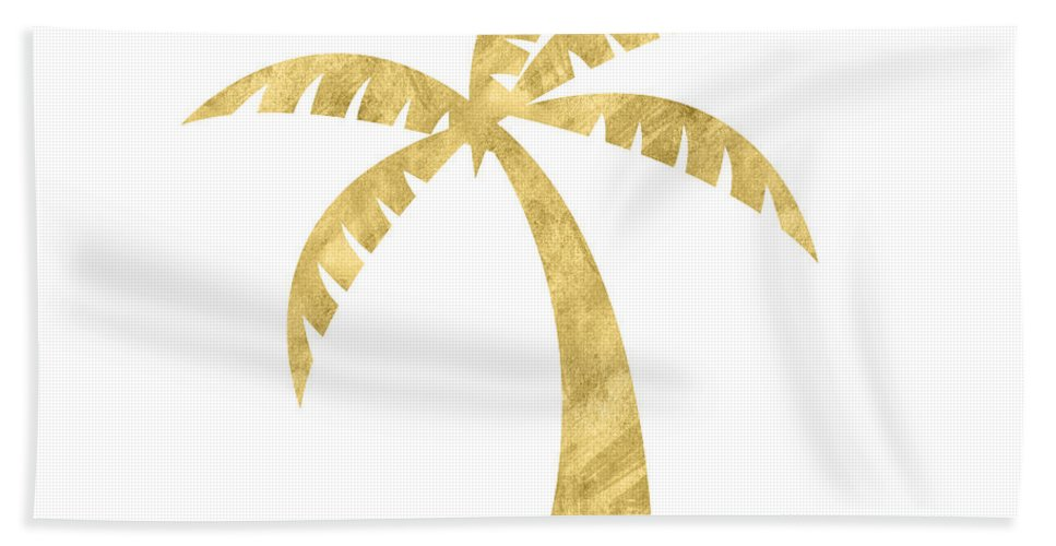 Palm Tree Beach Towel featuring the mixed media Gold Palm Tree- Art by Linda Woods by Linda Woods