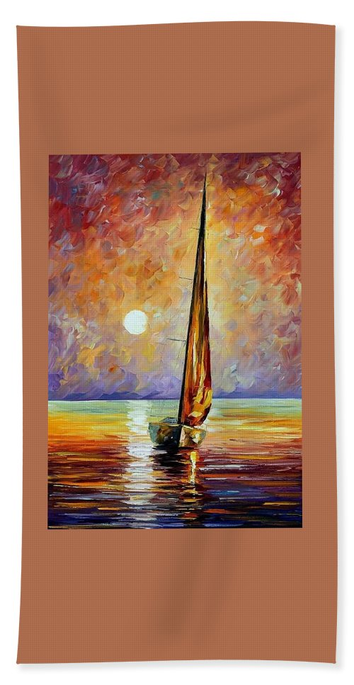 Afremov Beach Towel featuring the painting Gold Sail by Leonid Afremov