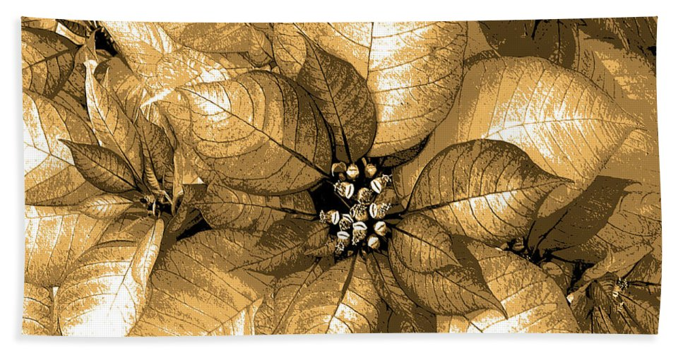 Poinsettia Beach Towel featuring the digital art Gold Shimmer by DigiArt Diaries by Vicky B Fuller