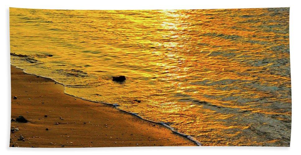 Beach Beach Towel featuring the photograph Golden Beach Sunset by Stephen Anderson