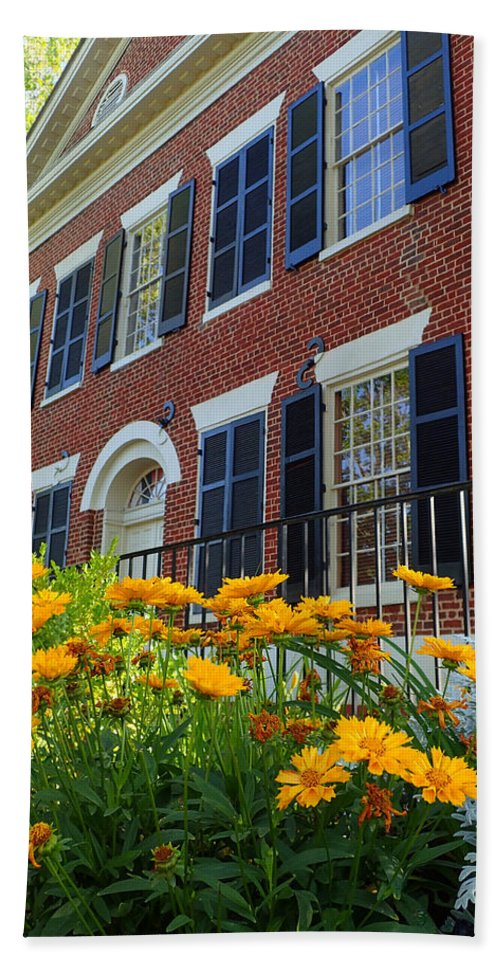 Dahlonega Beach Towel featuring the photograph Golden Blooms At The Dahlonega Gold Museum by Nicole Angell
