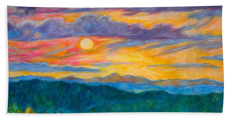 Landscape Beach Towel featuring the painting Golden Blue Ridge Sunset by Kendall Kessler