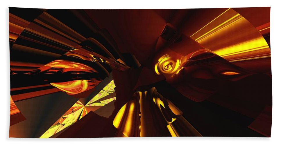 Abstract Beach Towel featuring the digital art Golden Brown Abstract by David Lane