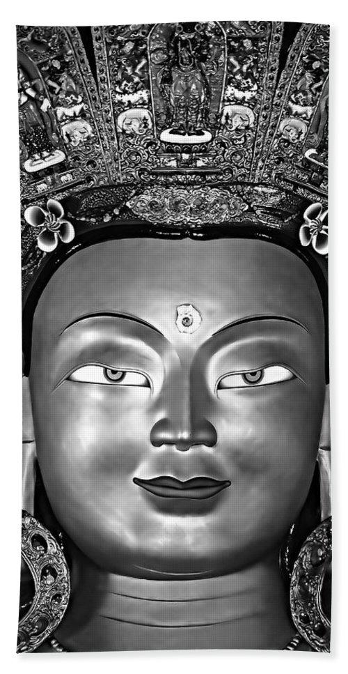 Buddhism Beach Towel featuring the photograph Golden Buddha Monochrome by Steve Harrington