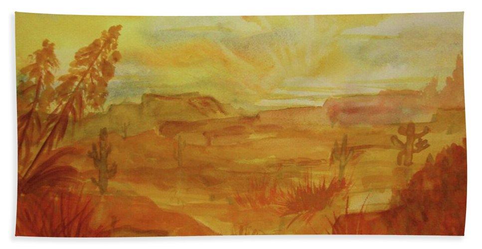 Golden Dawn Beach Towel featuring the painting Golden Dawn by Ellen Levinson