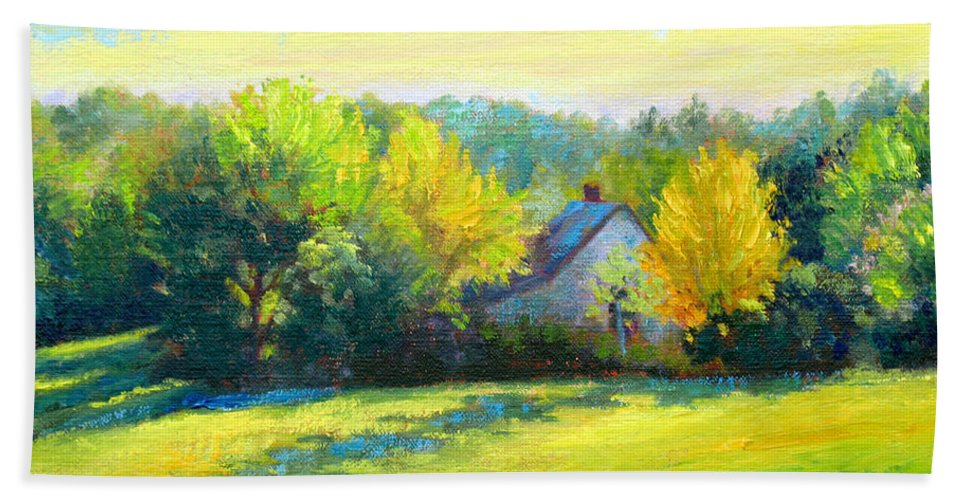 Landscape Beach Towel featuring the painting Golden Evening by Keith Burgess