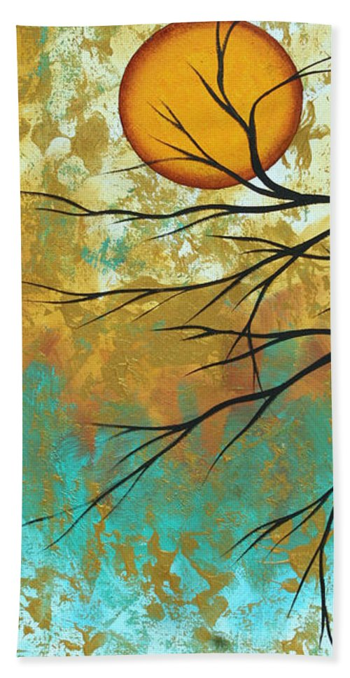 Painting Beach Towel featuring the painting Golden Fascination 1 by Megan Duncanson