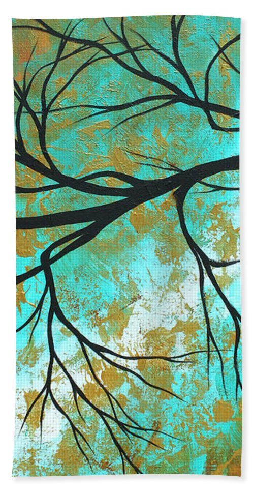 Painting Beach Towel featuring the painting Golden Fascination 3 by Megan Duncanson
