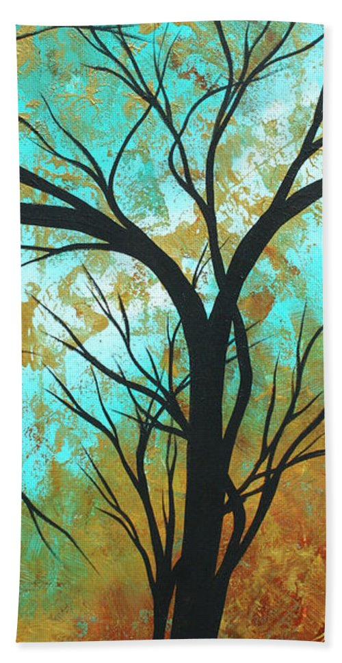 Painting Beach Towel featuring the painting Golden Fascination 4 by Megan Duncanson
