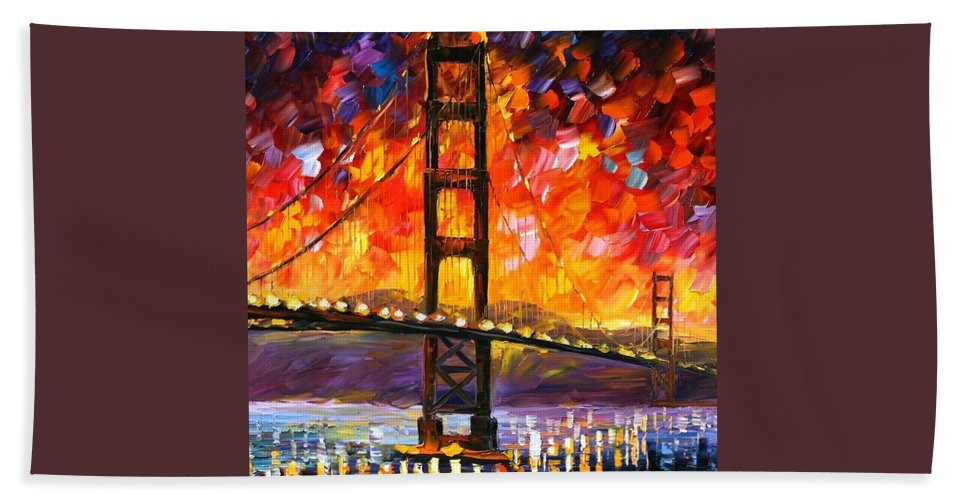 City Beach Sheet featuring the painting Golden Gate Bridge by Leonid Afremov