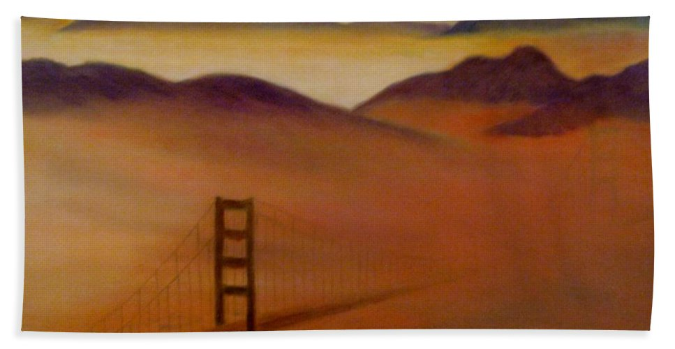 Fog Beach Towel featuring the painting Golden Gate Fog by Jamie Frier