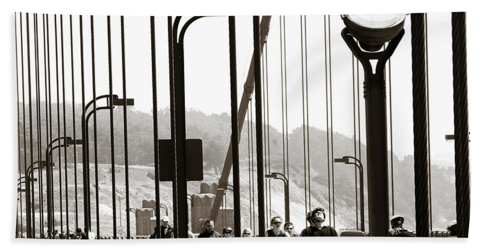 Americana Beach Towel featuring the photograph Golden Gate Suspension by Marilyn Hunt