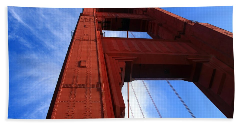 Golden Gate Beach Towel featuring the photograph Golden Gate Tower by Aidan Moran