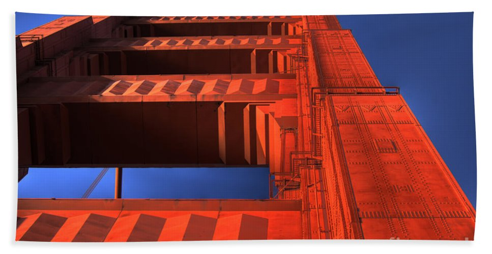 Golden Gate Bridge Beach Towel featuring the photograph Golden Gate Tower by Jim And Emily Bush