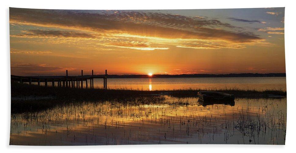 Sunset Beach Towel featuring the photograph Golden Glow by Jody Merritt