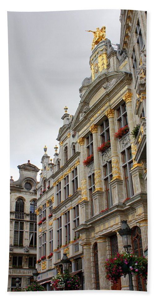 Brussels Beach Towel featuring the photograph Golden Grand Place by Carol Groenen