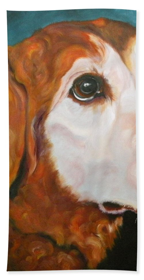 Dogs Beach Towel featuring the painting Golden Grandpa by Susan A Becker