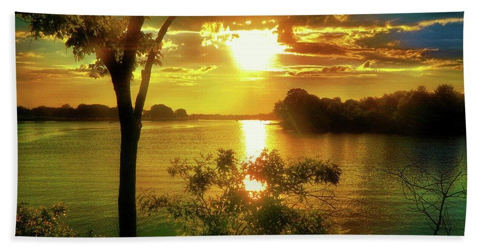 Sunset Beach Towel featuring the digital art Golden Hour Beautiful Light by Lilia D