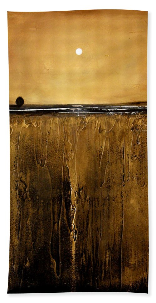 Minimalist Beach Towel featuring the painting Golden Inspirations by Toni Grote