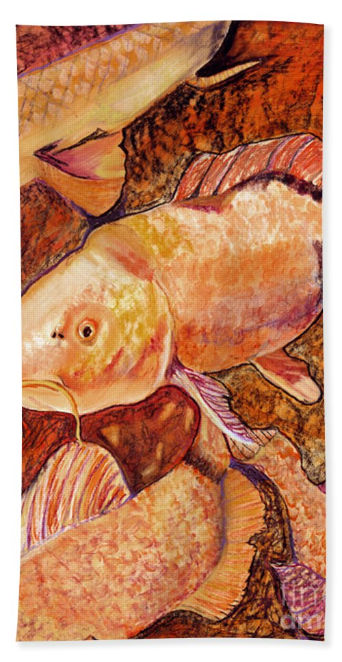 Fish Beach Towel featuring the painting Golden Koi by Pat Saunders-White