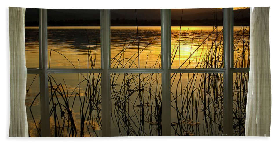 'window Canvas Wraps' Beach Towel featuring the photograph Golden Lake Bay Picture Window View by James BO Insogna