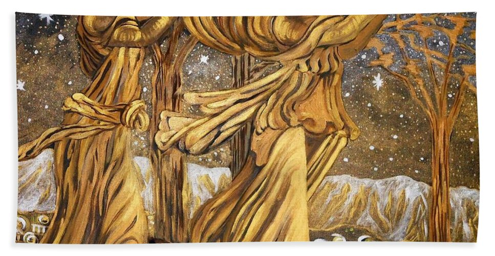Figurative Beach Towel featuring the painting Golden Minstrels. by Caroline Street