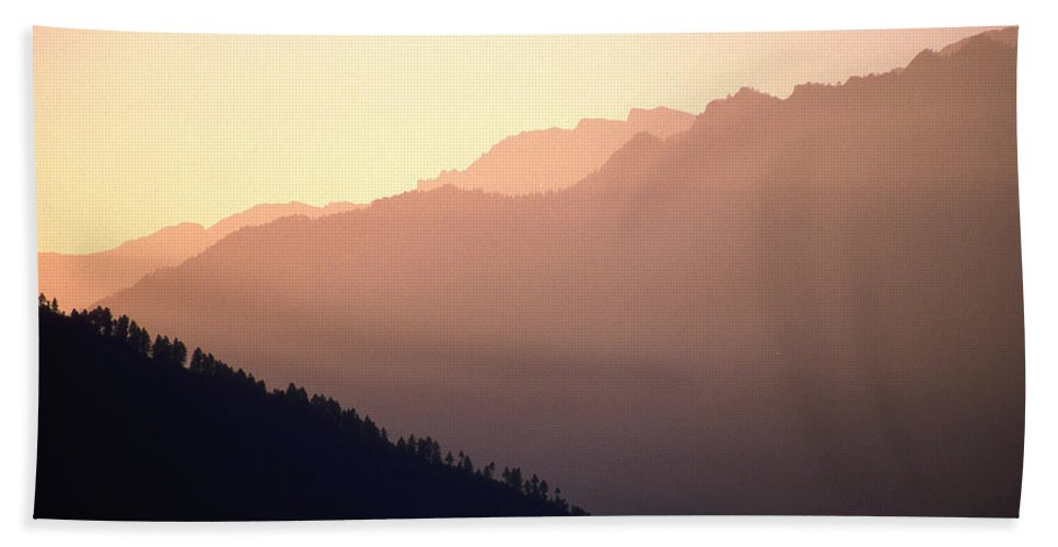 Langtang Beach Towel featuring the photograph Golden Mountains by Patrick Klauss