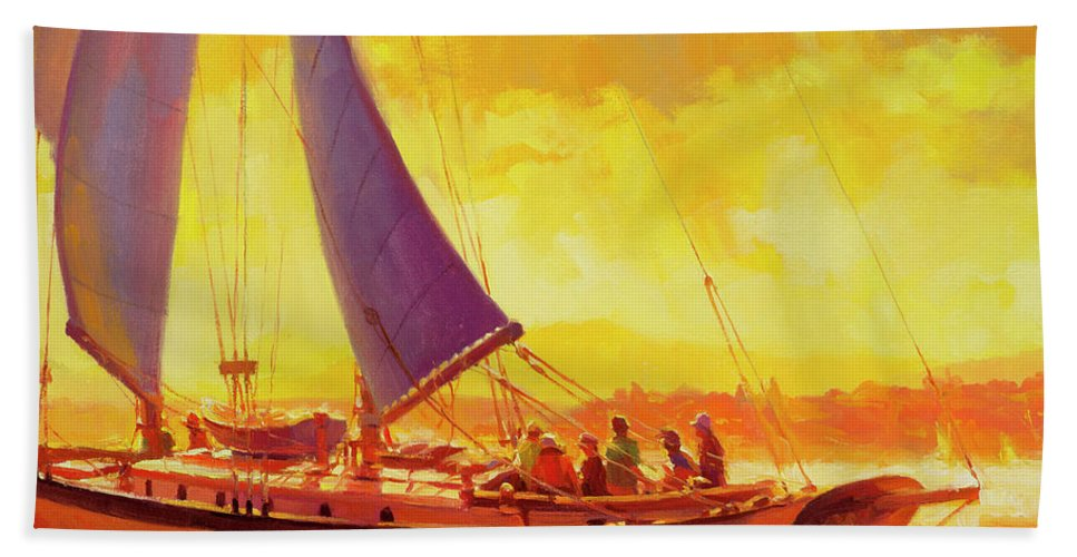Sailing Beach Towel featuring the painting Golden Opportunity by Steve Henderson