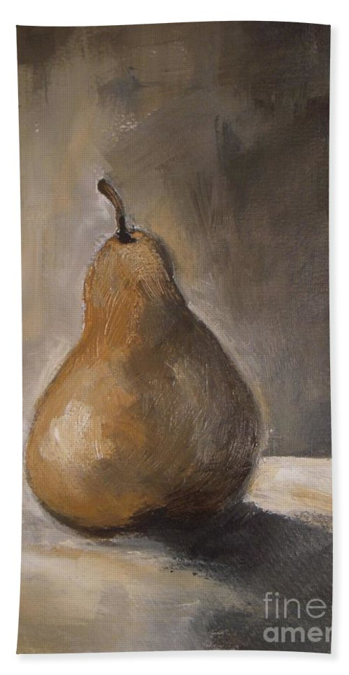 Abstract Beach Towel featuring the painting Golden Pear by Vesna Antic