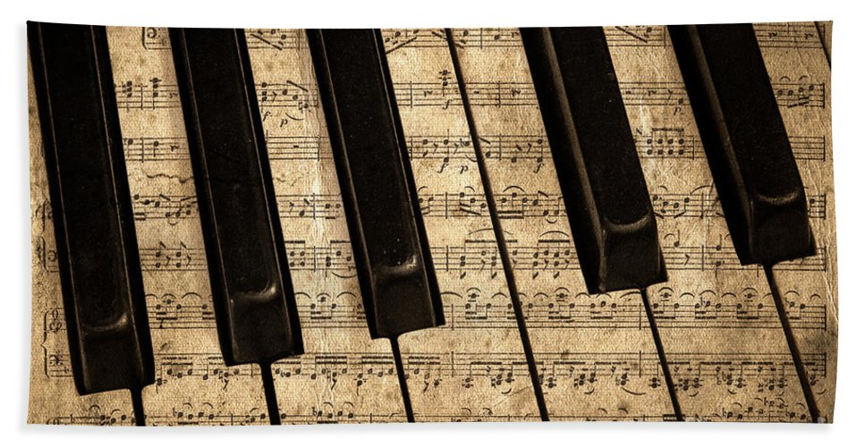 Piano Beach Towel featuring the photograph Golden Pianoforte Classic by John Stephens