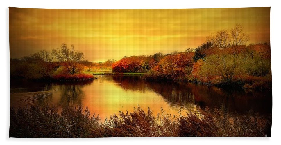 Pond Beach Towel featuring the photograph Golden Pond by Jacky Gerritsen