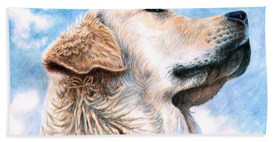 Dog Beach Sheet featuring the painting Golden Retriever by Nicole Zeug