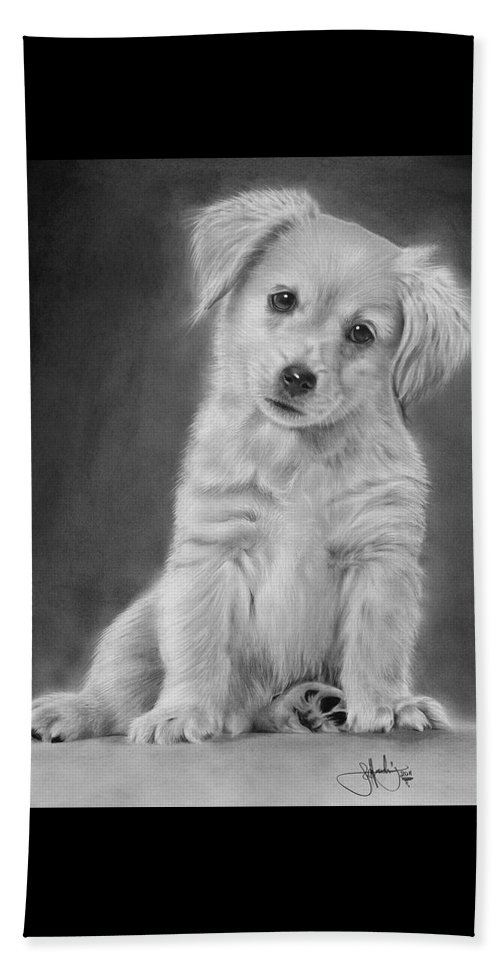 golden retriever puppy drawing beach towel for sale by john harding