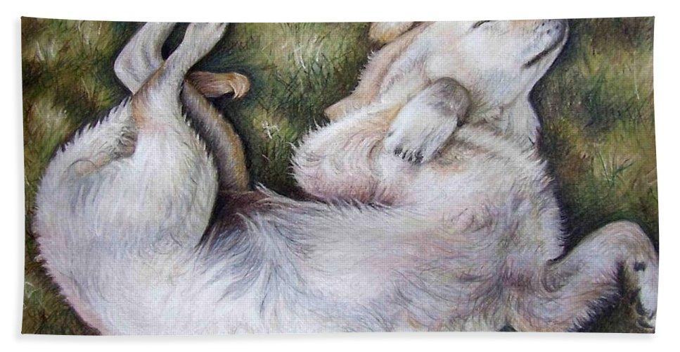 Dog Beach Towel featuring the pastel Golden Retriever Puppy by Nicole Zeug