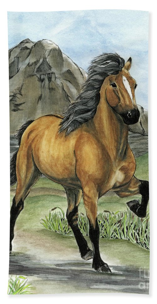 Icelandic Horse Beach Towel featuring the painting Golden Tolt Icelandic Horse by Shari Nees