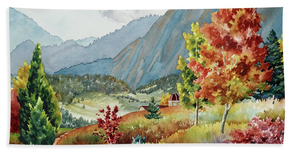 Autumn Colors Painting Beach Towel featuring the painting Golden Trail by Anne Gifford