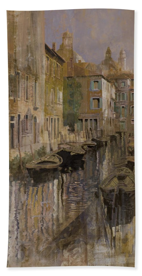 Venice Beach Towel featuring the painting Golden Venice by Guido Borelli