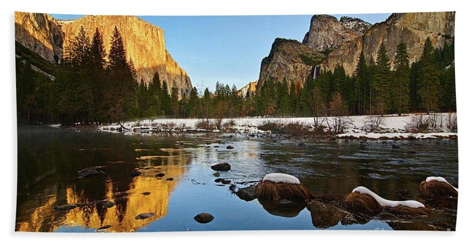 Yosemite Beach Towel featuring the photograph Golden View - Yosemite National Park. by Jamie Pham